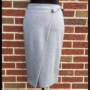 Brunello Cucinelli Grey Wool Wrap Skirt NWOT